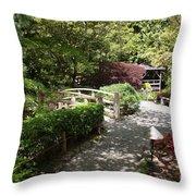 Japanese Garden Path With Azaleas Throw Pillow