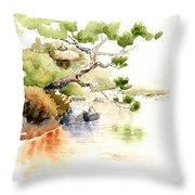 Japanese Garden Pond Sketch Throw Pillow