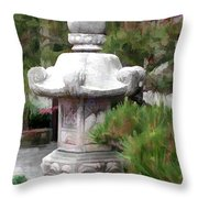 Japanese Garden Stone Lantern Statue Throw Pillow