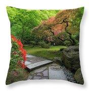 Japanese Garden Strolling Stone Path Throw Pillow