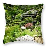 Japanese Garden Teahouse Throw Pillow
