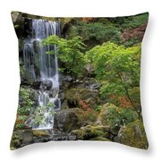 Japanese Garden Waterfall Throw Pillow by Sandra Bronstein