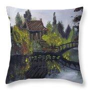 Japanese Garden With Bridge Throw Pillow
