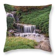 Japanese Gardens Waterfall Throw Pillow