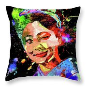 Japanese Geisha Colored Throw Pillow