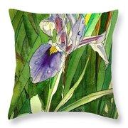 Japanese Iris Throw Pillow