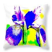 Japanese Iris Pop Art Abstract Throw Pillow