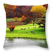 Japanese Island Fall Colors Throw Pillow