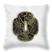 Japanese Katana Tsuba - Golden Twin Koi On Black Steel Over White Leather Throw Pillow