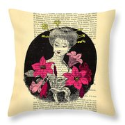 Japanese Lady With Cherry Blossoms Throw Pillow