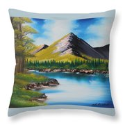 Japanese Landscape Throw Pillow