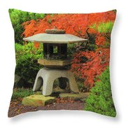 Japanese Maple And Lantern 1 Throw Pillow