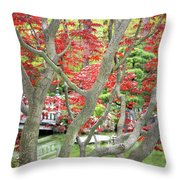 Japanese Maple Tree And Pond Throw Pillow