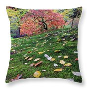 Japanese Maple Tree On A Mossy Slope Throw Pillow
