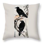 Japanese Print: Crow Throw Pillow