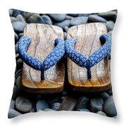 Japanese Sandals Throw Pillow