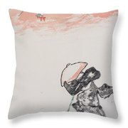 Japanese Shrine And Isolated Monk Throw Pillow