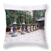 Japanese Stone Lanterns Throw Pillow