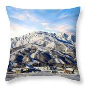 Japanese Winter Resort Throw Pillow