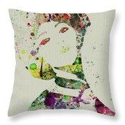 Japanese Woman Throw Pillow by Naxart Studio