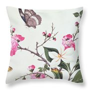 Japonica Magnolia And Butterflies Throw Pillow