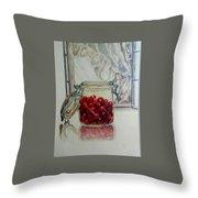 Jar Of Cherries Throw Pillow