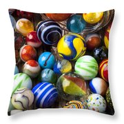 Jar Of Marbles Throw Pillow by Garry Gay