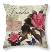 Jardin De Roses Throw Pillow