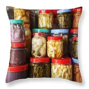 Jars Of Asian Style Pickles In Kep Market Cambodia Throw Pillow