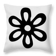 Camellia - Black  Throw Pillow