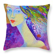 Modigliani Style Portrait Of A Woman Painting Colorful  Throw Pillow