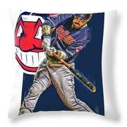 Jason Kipnis Cleveland Indians Oil Art Throw Pillow