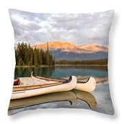 Jasper Lake Canoes Throw Pillow