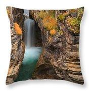 Jasper Maligne Canyon Waterfall Throw Pillow