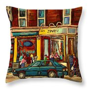 Java U Coffee Shop Montreal Painting By Streetscene Specialist Artist Carole Spandau Throw Pillow