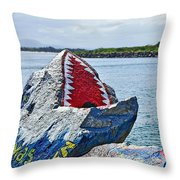 Jaws - Beach Graffiti Throw Pillow
