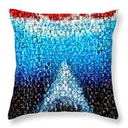 Jaws Horror Mosaic Throw Pillow by Paul Van Scott
