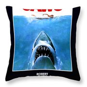 Jaws Movie Poster - 1975 Throw Pillow