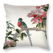 Jay On A Flowering Branch Throw Pillow by Chinese School