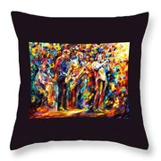 Jazz Band - Palette Knife Oil Painting On Canvas By Leonid Afremov Throw Pillow