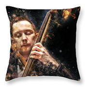 Jazz Bass Player Throw Pillow