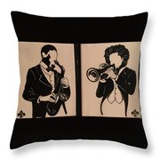 Jazz Jammin Brothers Throw Pillow