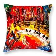 Jazz City Throw Pillow