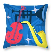 Jazz Composition With Bass, Saxophone And Trumpet Throw Pillow