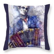 Jazz Concertina Player Throw Pillow