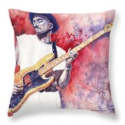 Jazz Guitarist Marcus Miller Red Throw Pillow