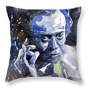 Jazz Miles Davis 11 Blue Throw Pillow