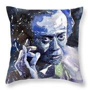 Jazz Miles Davis 11 Blue Throw Pillow