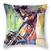 Jazz Miles Davis 9 Blue Throw Pillow