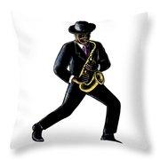Jazz Musician Playing Saxophone Scratchboard Throw Pillow